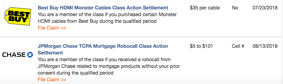 Class Action Settlement Money Example