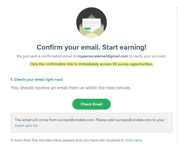 paid survey email confirmation start earning