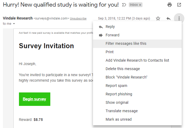 set up survey filters email gmail