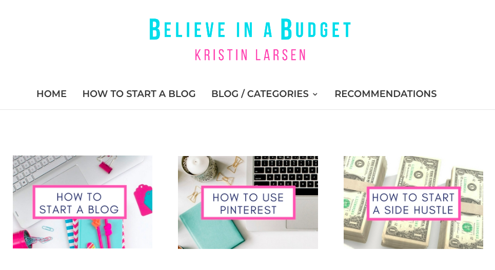 Believe In A Budget Home Page