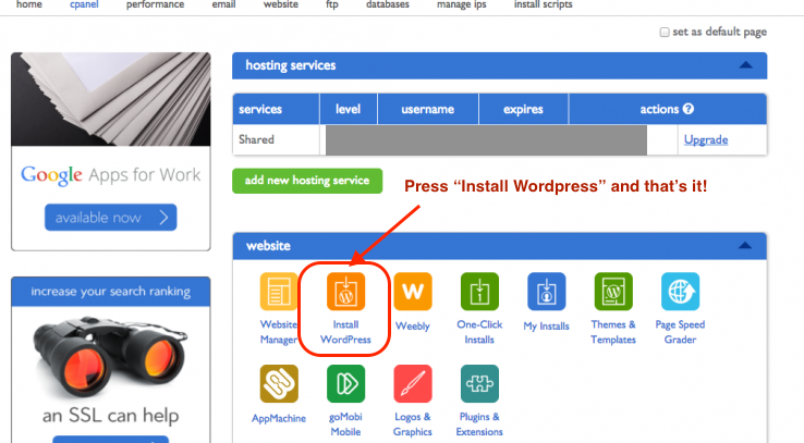 Bluehost Install WordPress Step 1