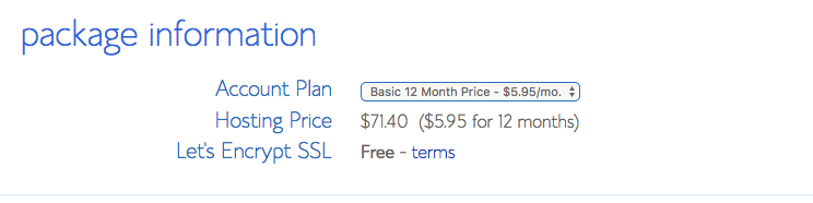 Select Plan Option Bluehost