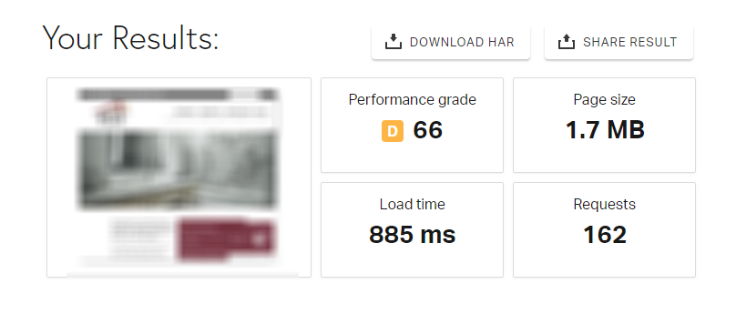 WP Engine site speed test results 885ms load speed